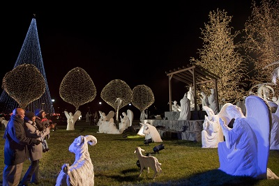 Our outdoor nativity display features special lighting effects and an audio rendition of the beloved biblical story!